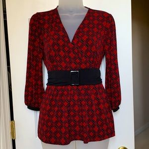 Super cute Red & Black top with tie in back
